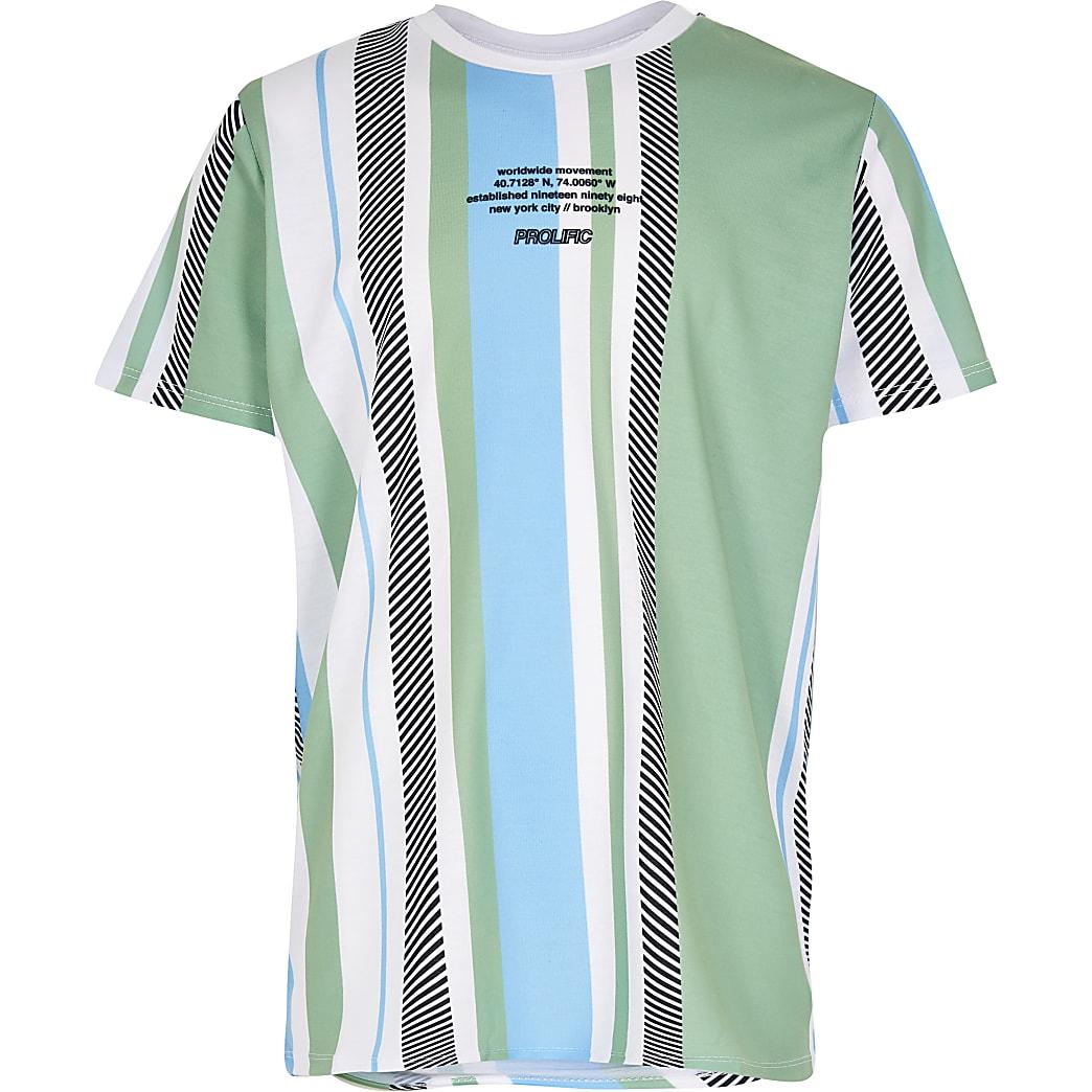 Boys green vertical stripe print t shirt