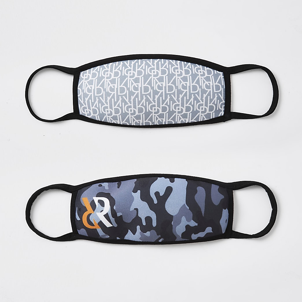 Boys grey 2pk camo face coverings