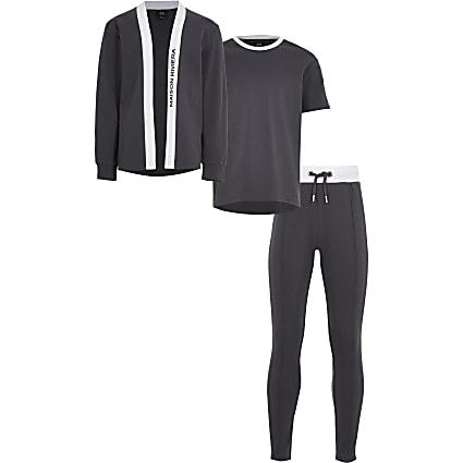 Boys grey 3 piece cardigan outfit