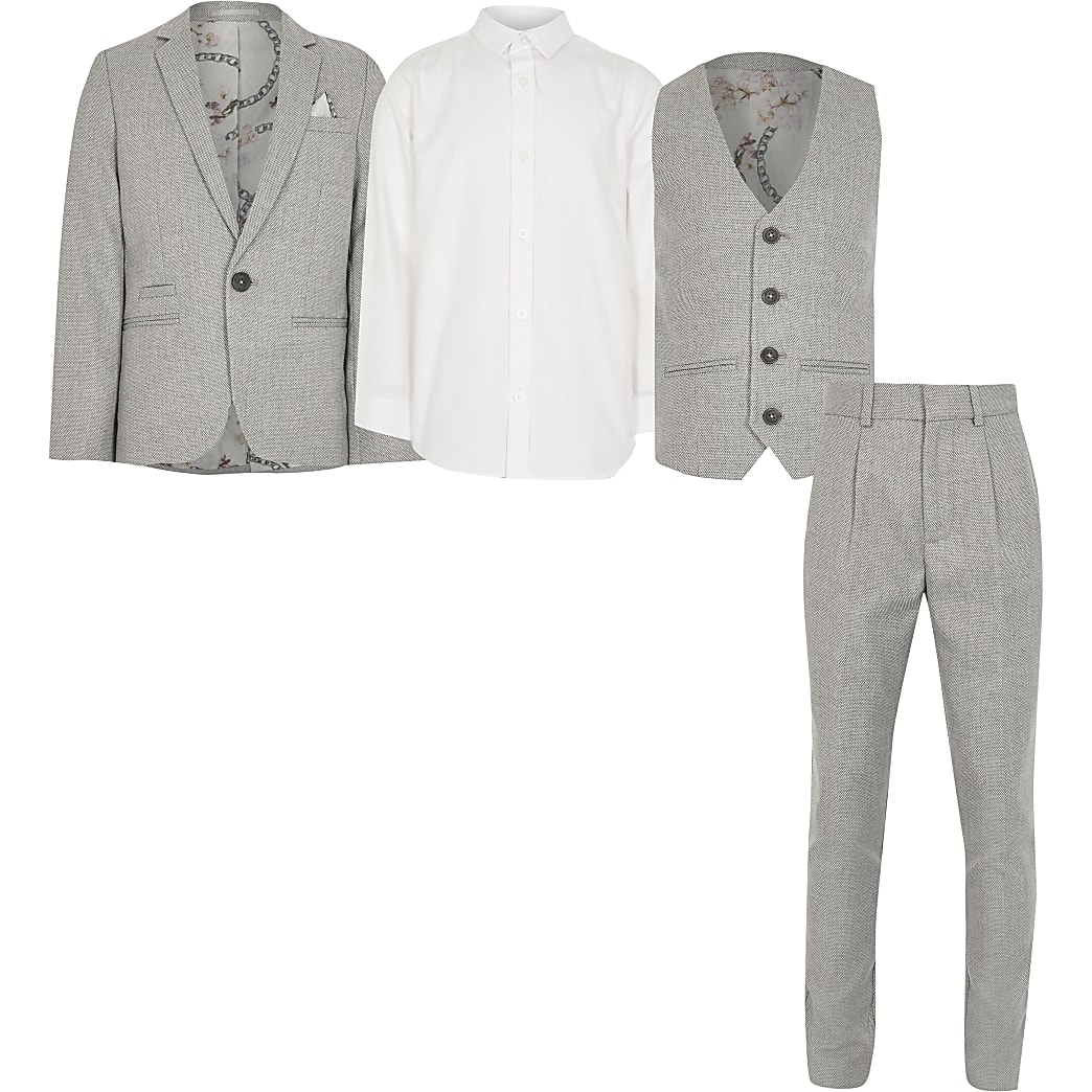 Boys grey 4 piece suit