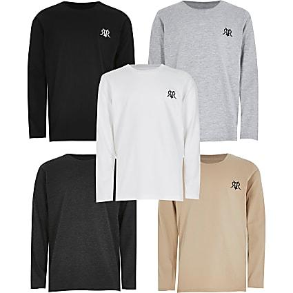 Boys grey 5 pack RVR T-shirts