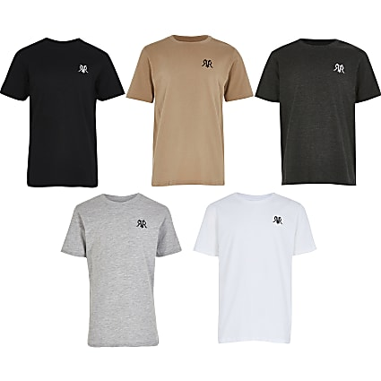 Boys grey 5 pack RVR T-shirts
