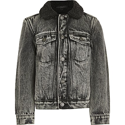 Boys grey acid wash borg denim jacket