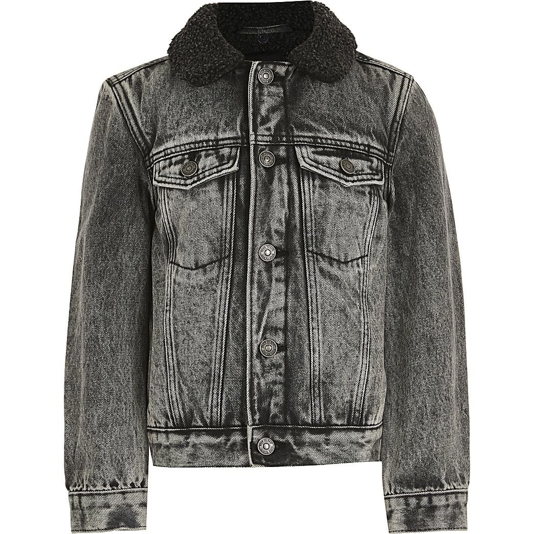 Boys grey acid wash borg denim jacket