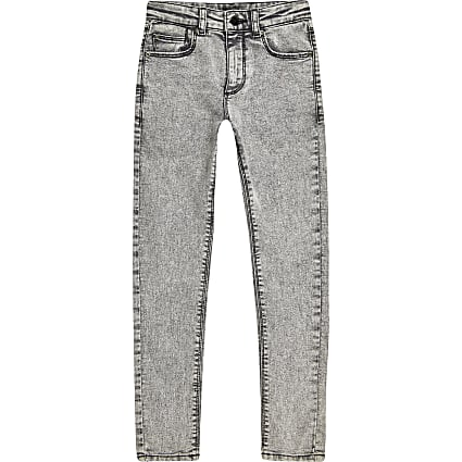 Boys grey acid wash skinny jean
