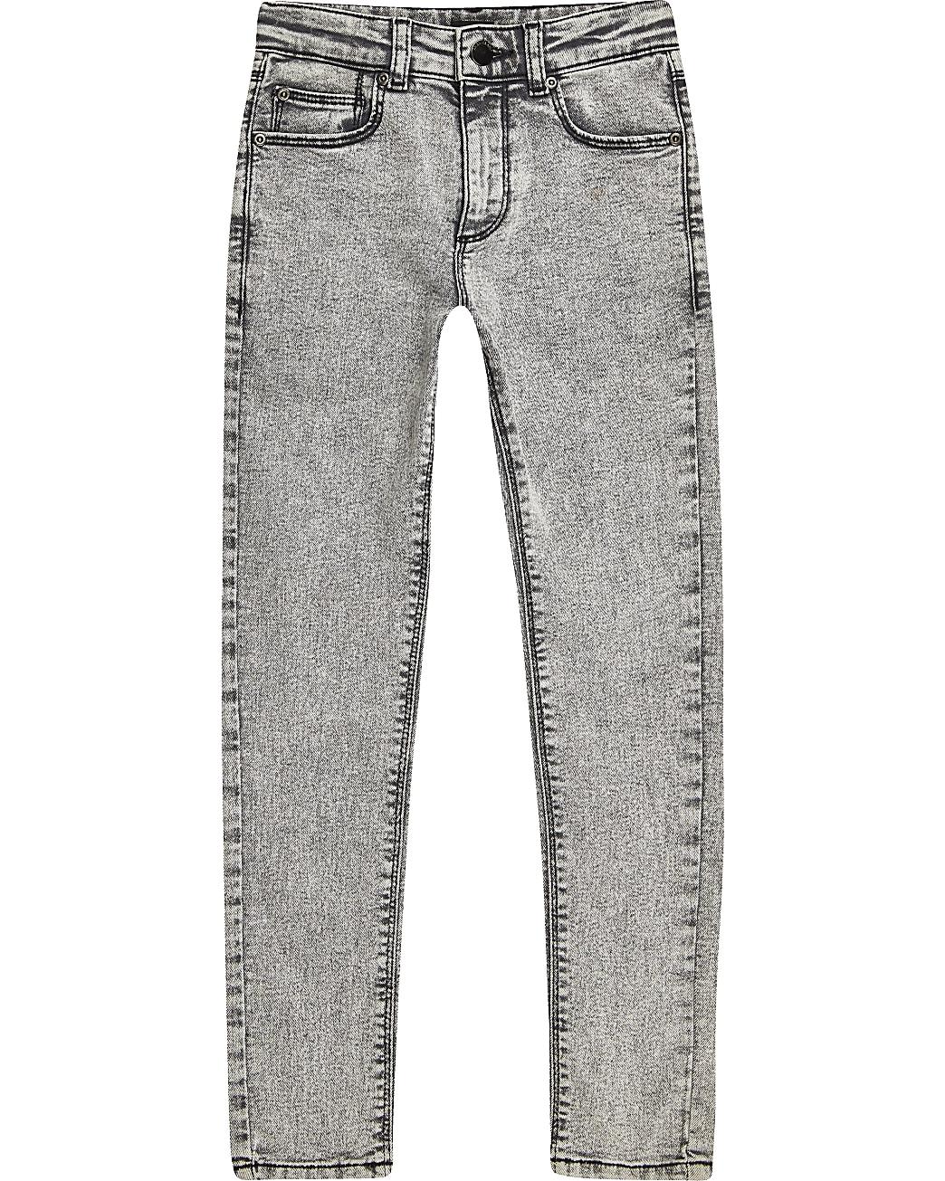 Boys grey acid wash skinny jeans