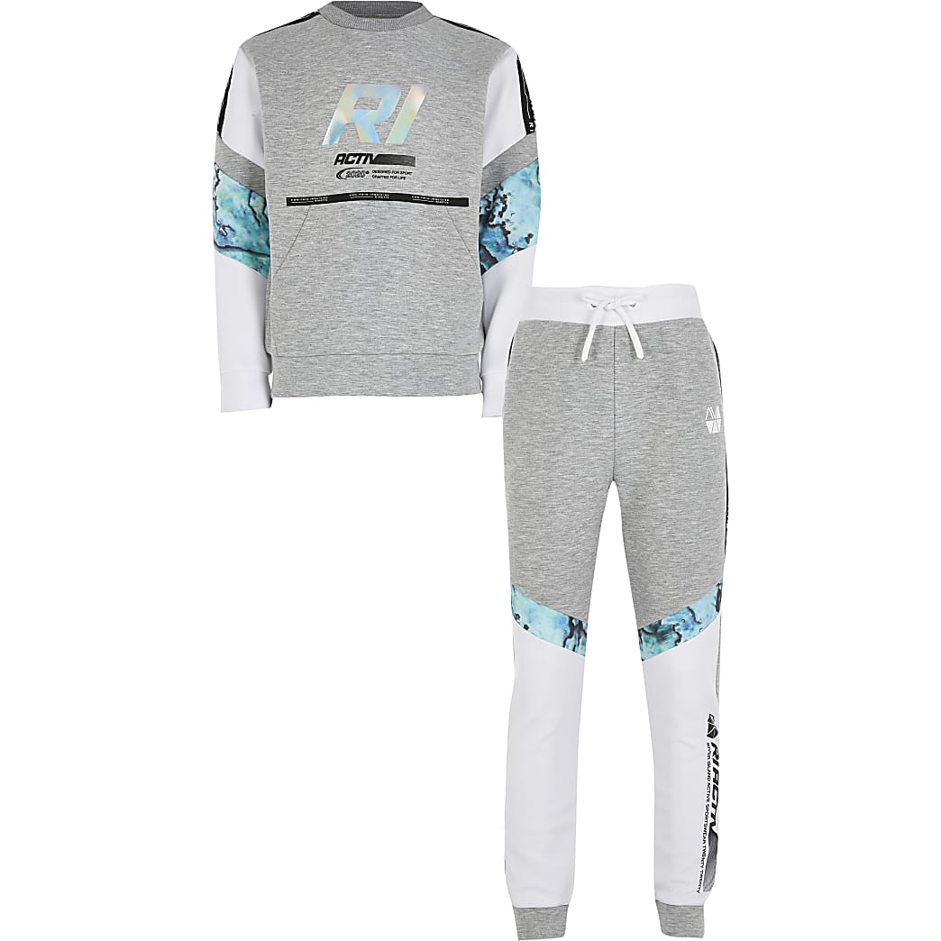 Boys grey Active oil slick block outfit