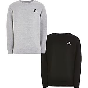 Graues und schwarzes RVR-Sweatshirt für Jungen im 2er-Pack