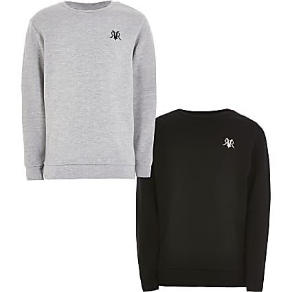 Boys grey and black RVR sweatshirt 2 pack