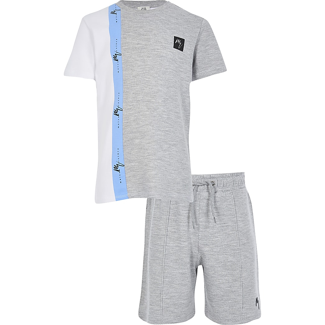 Boys grey blocked t-shirt outfit