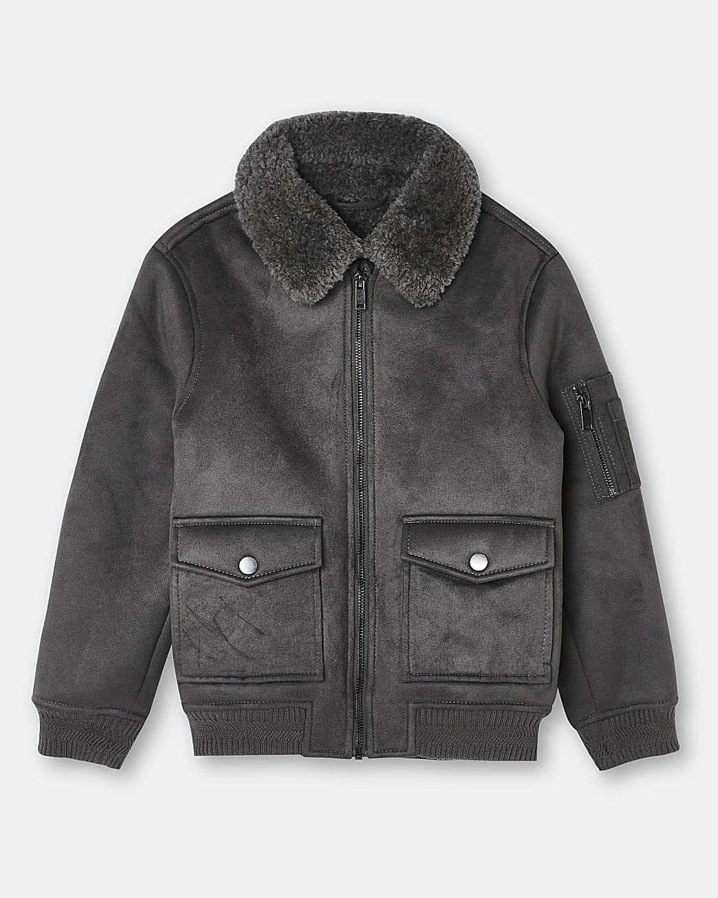 Boys grey borg utility jacket