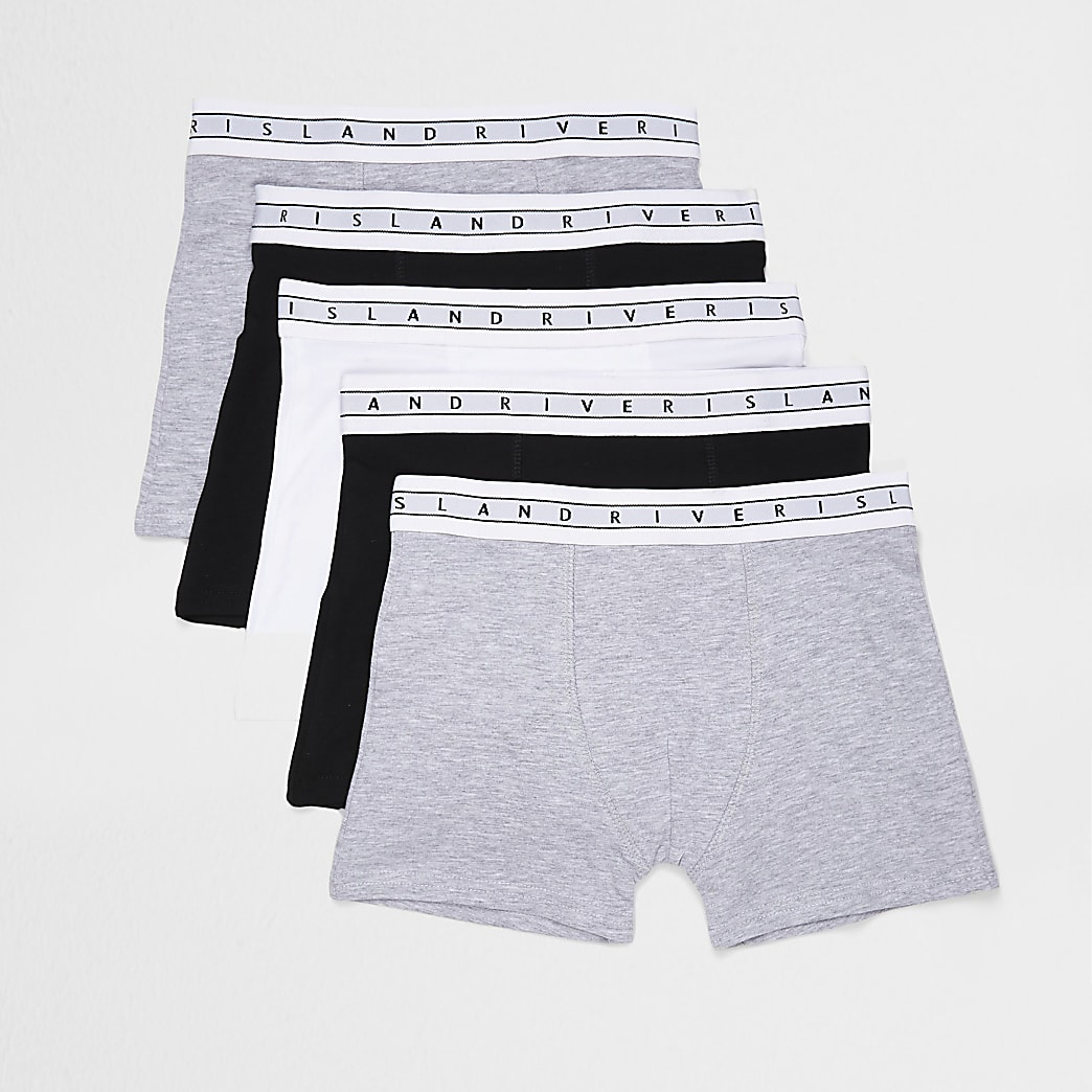 Boys grey boxer shorts 5 pack