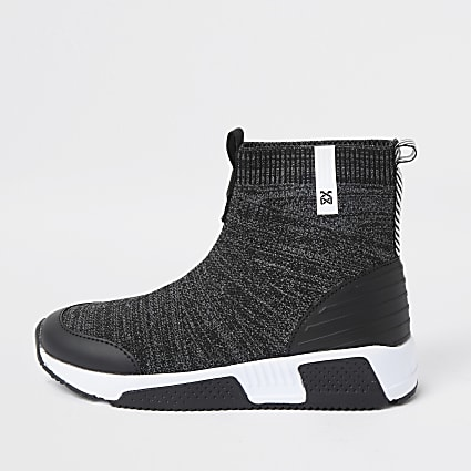 Boys grey bubble sock hi top trainer