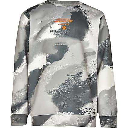 Boys grey camo 'Positivi-tee' sweatshirt