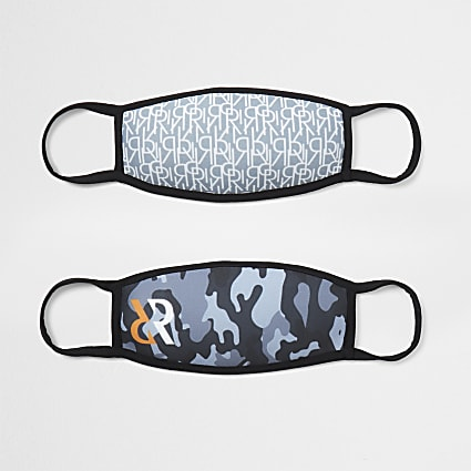 Boys grey camo print 2pk face coverings