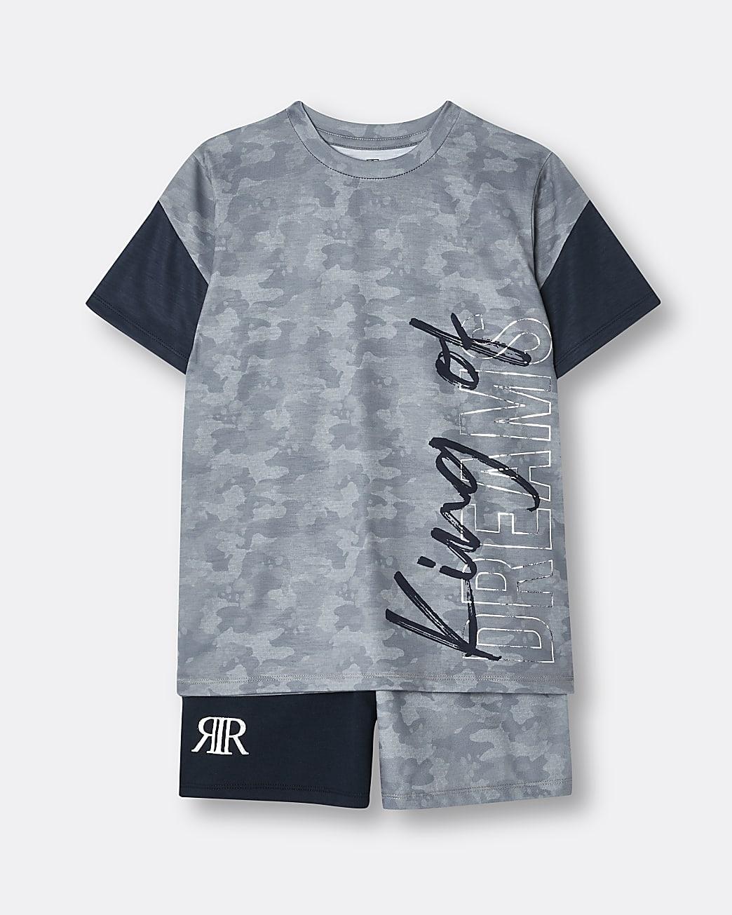 Boys grey camo print pyjamas set