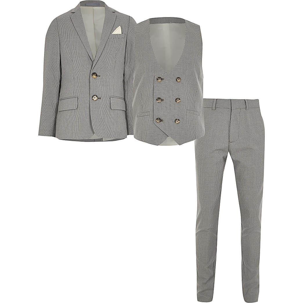 Boys grey check 3 piece suit