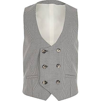 Boys grey check double breasted waistcoat