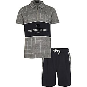 Maison Riviera– Graues, kariertes Polo-Outfit für Jungen
