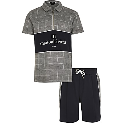 Boys grey check Maison Riviera polo outfit