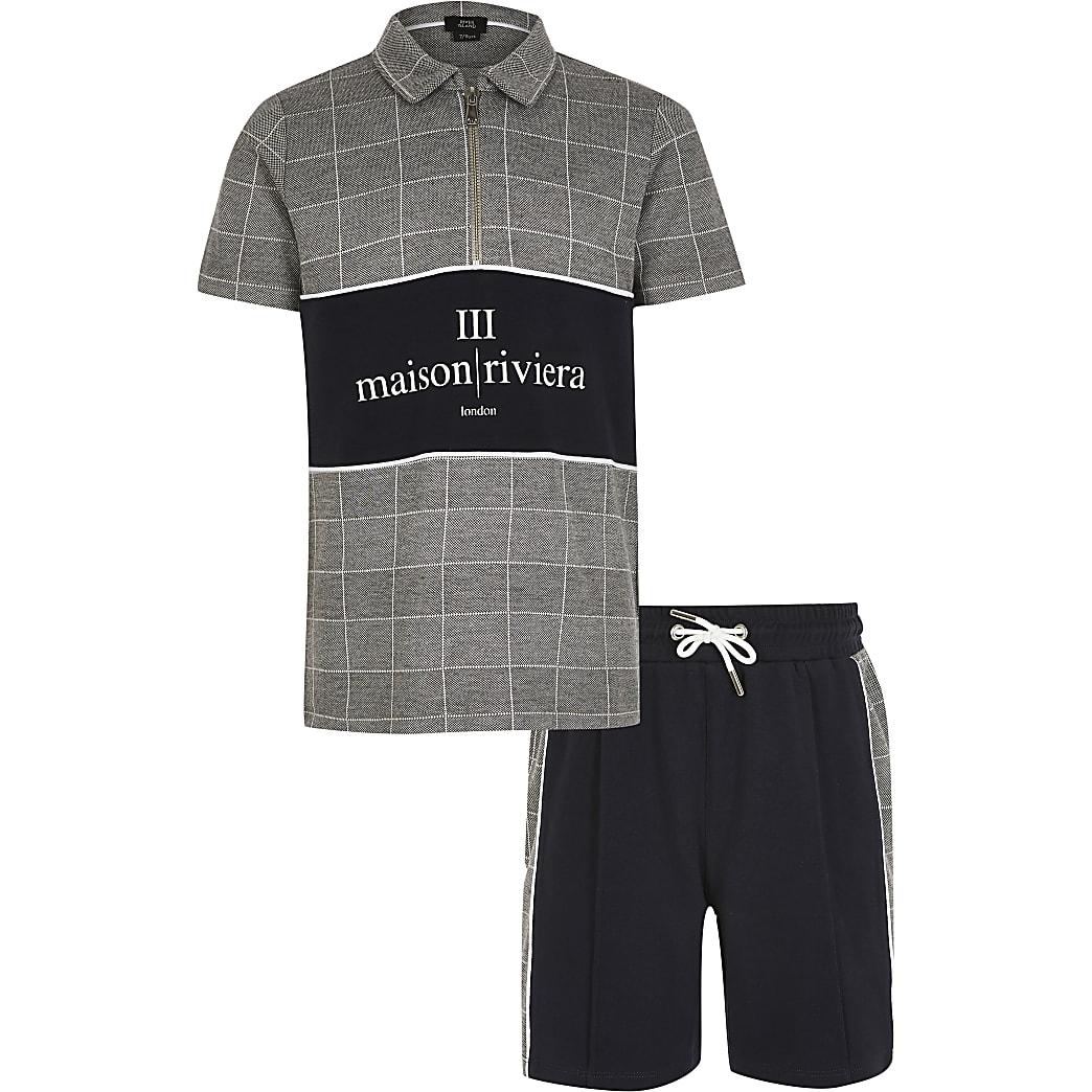 MaisonRiviera- Grijze outfit met geruit poloshirt