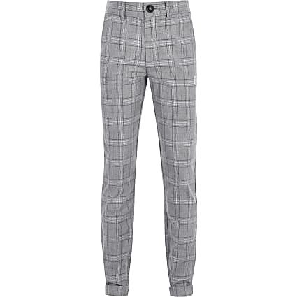 Boys grey check print trousers
