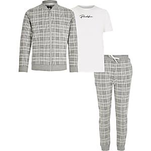 Prolific - Grijze geruite 3-delige outfit voor jongens