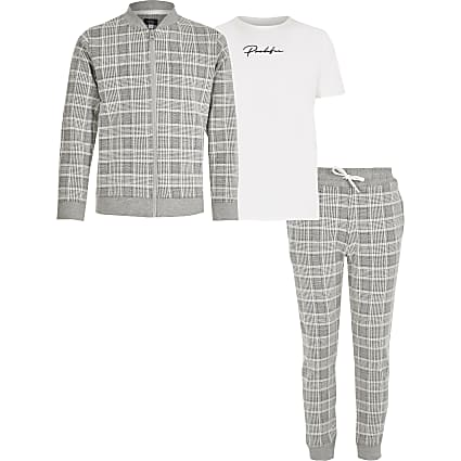 Boys grey check Prolific 3 piece outfit