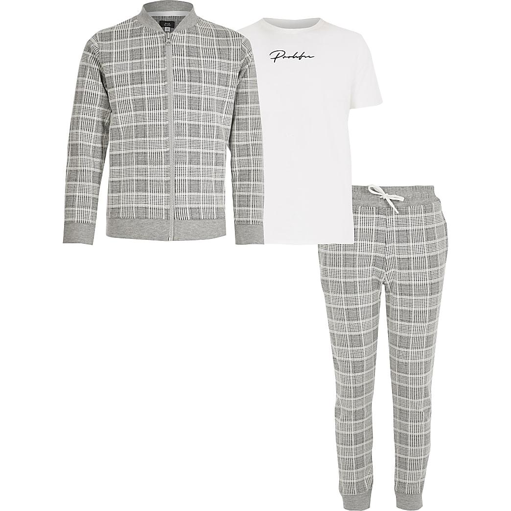 Prolific –Grau kariertes 3-Teiler-Outfit für Jungen