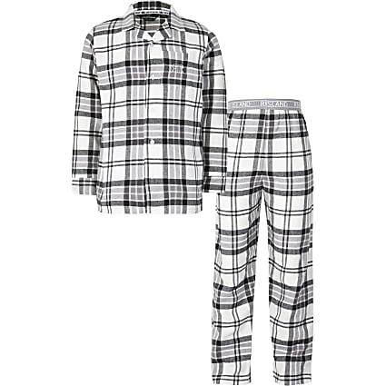 Boys grey check pyjamas set