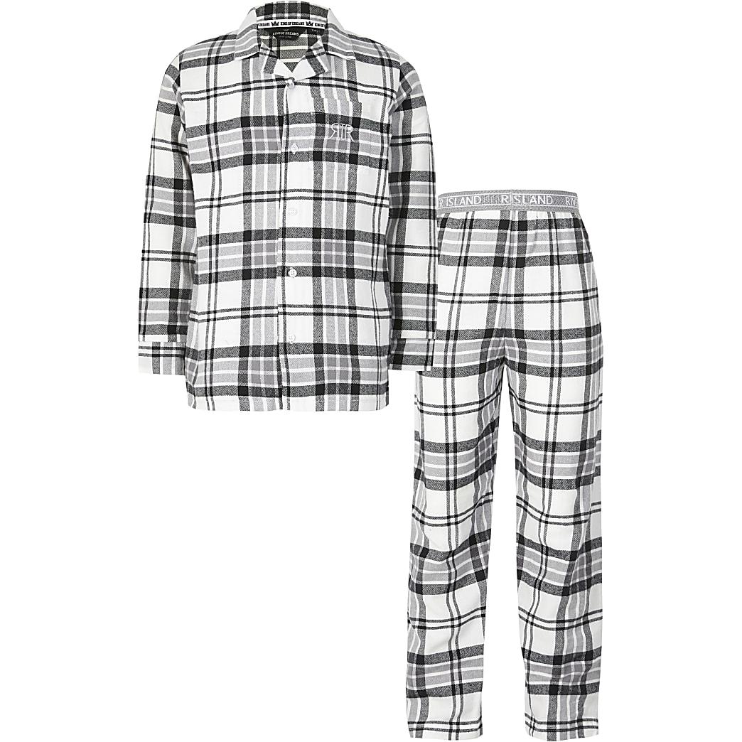 Boys grey check pyjamas set