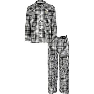 Graue, karierte RI-Pyjamas für Jungen