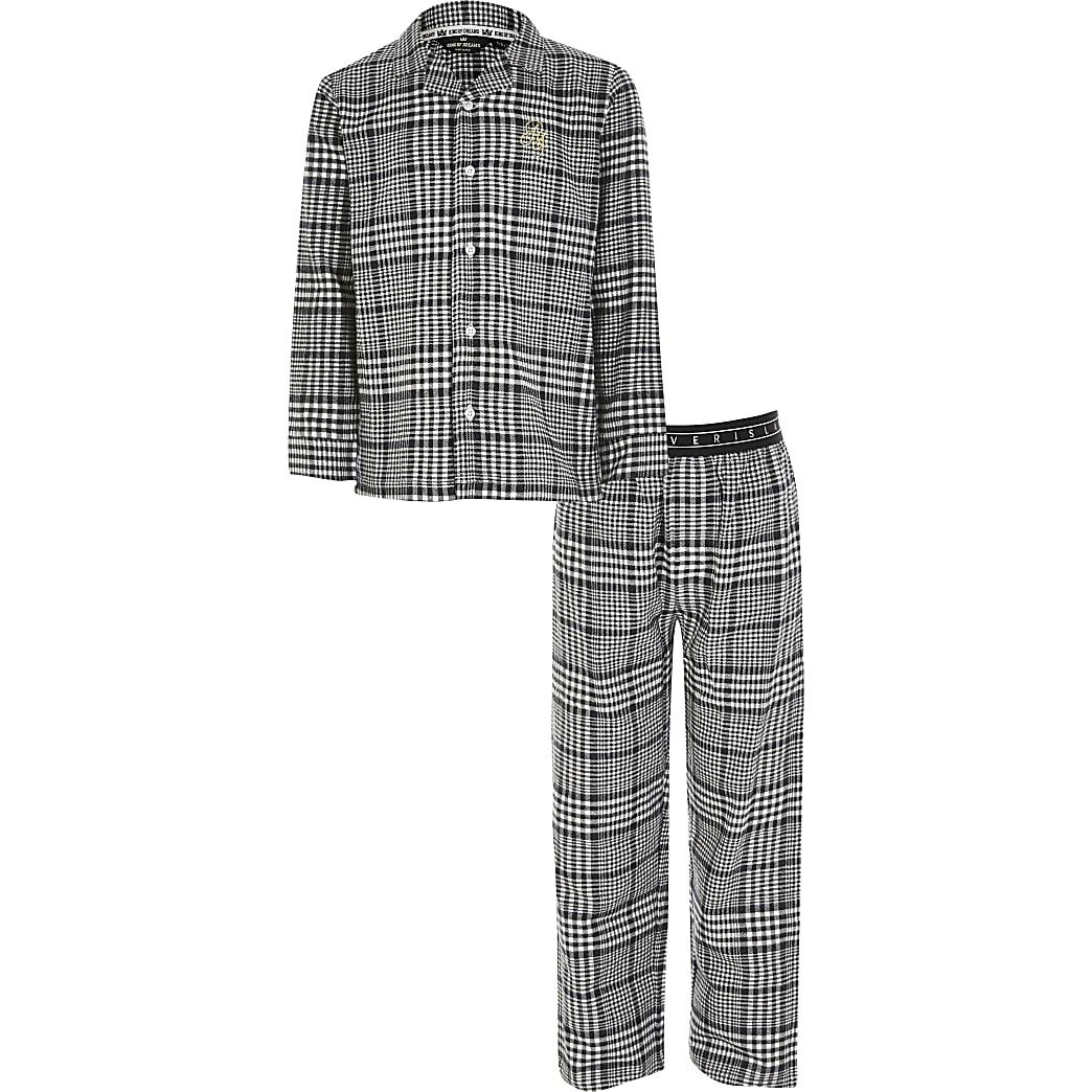 Grijze geruite pyjama met RI-borduursel voor jongens