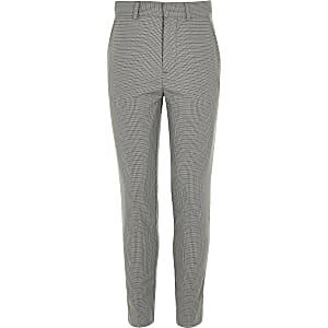 Pantalon de costume slim à carreaux gris pour garçon