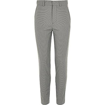Boys grey check slim fit suit trousers