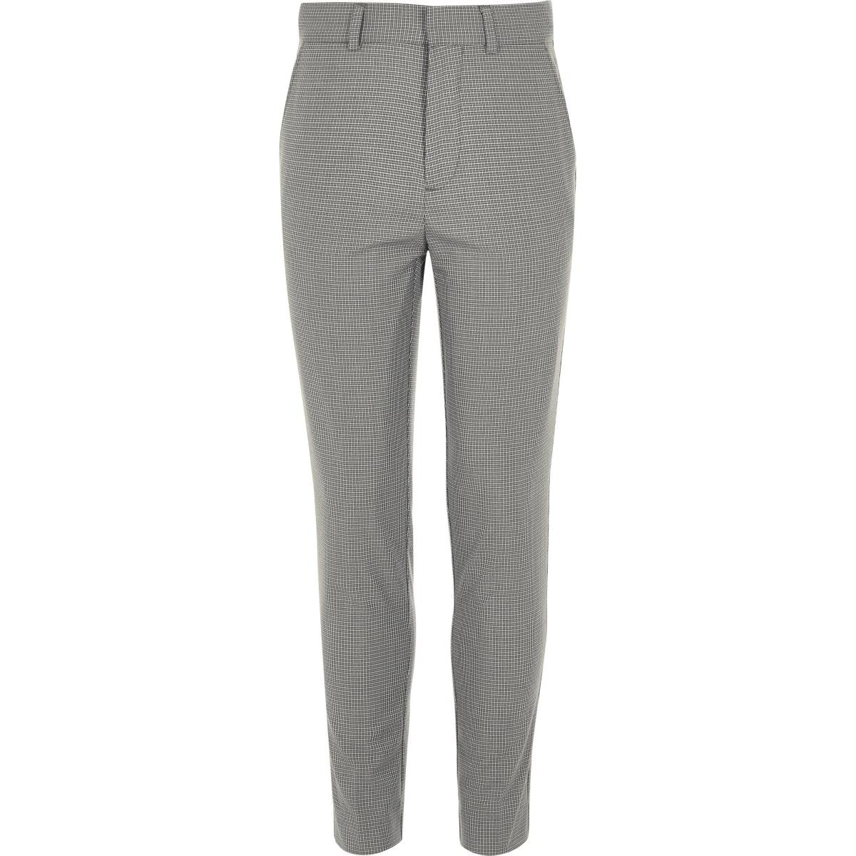 Grijze geruite slim-fit pantalon voor jongens