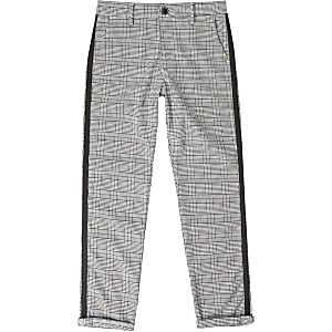 Boys grey check tape side trousers