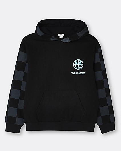 Boys grey checkerboard hoodie