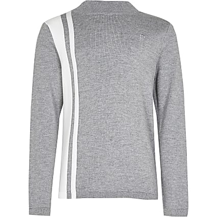 Boys grey colour block funnel neck jumper