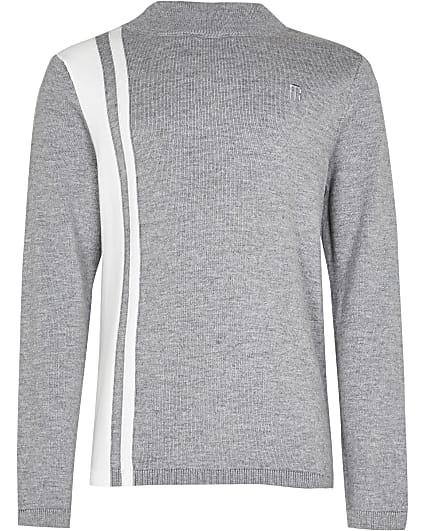 Boys grey colour block funnel neck jumper