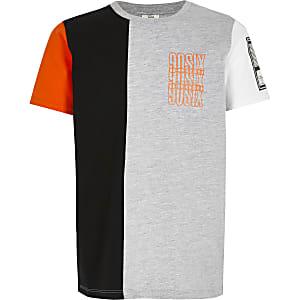 Grijs T-shirt met print en kleurvlakken voor jongens