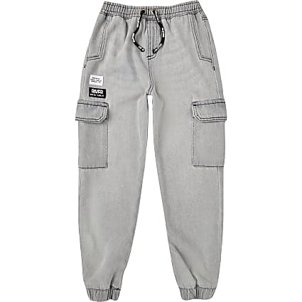 Boys grey denim joggers