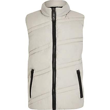 Boys grey diagonal padded gilet