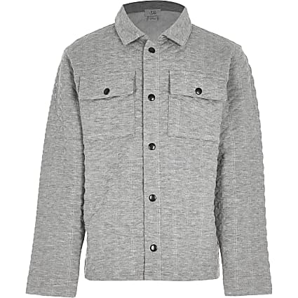 Boys grey embossed overshirt