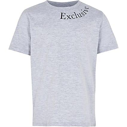 Boys grey 'Exclusive' print t-shirt