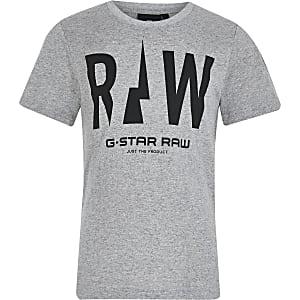 G-Star Raw - Grijs T-shirt met print voor jongens