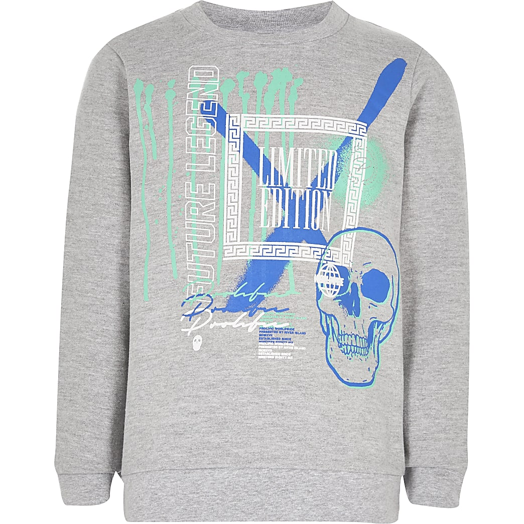 Boys grey graffiti print sweatshirt