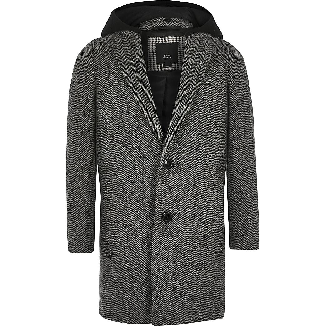 Boys grey herringbone hooded overcoat