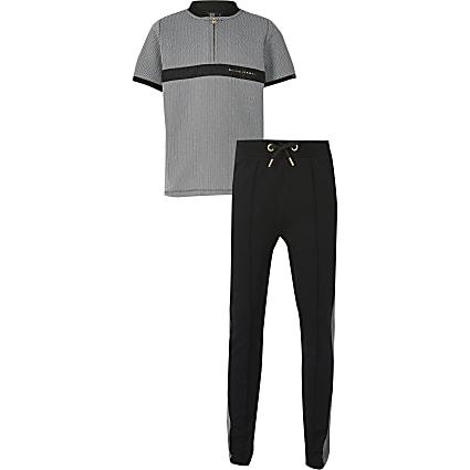 Boys grey herringbone tape outfit