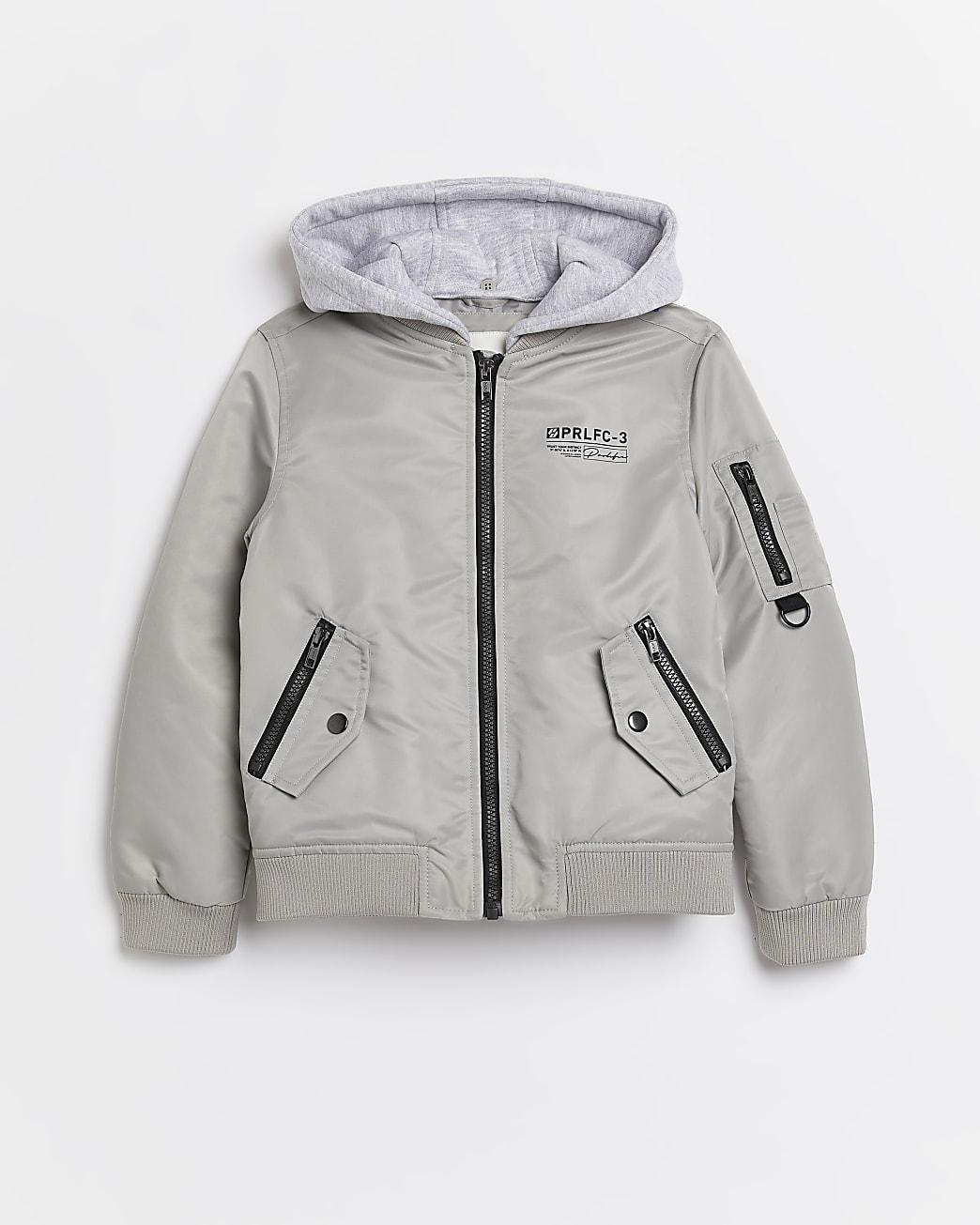 Boys grey hood bomber jacket